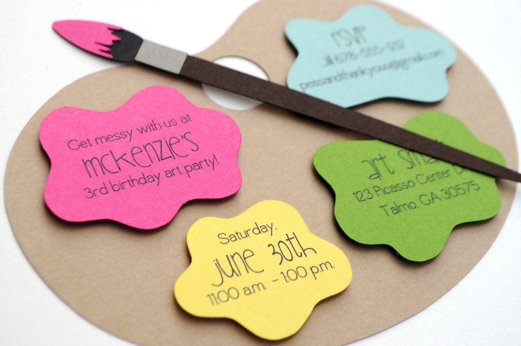 Art Palette Painting Party Handmade Birthday Invitation A2 GIRLS ...