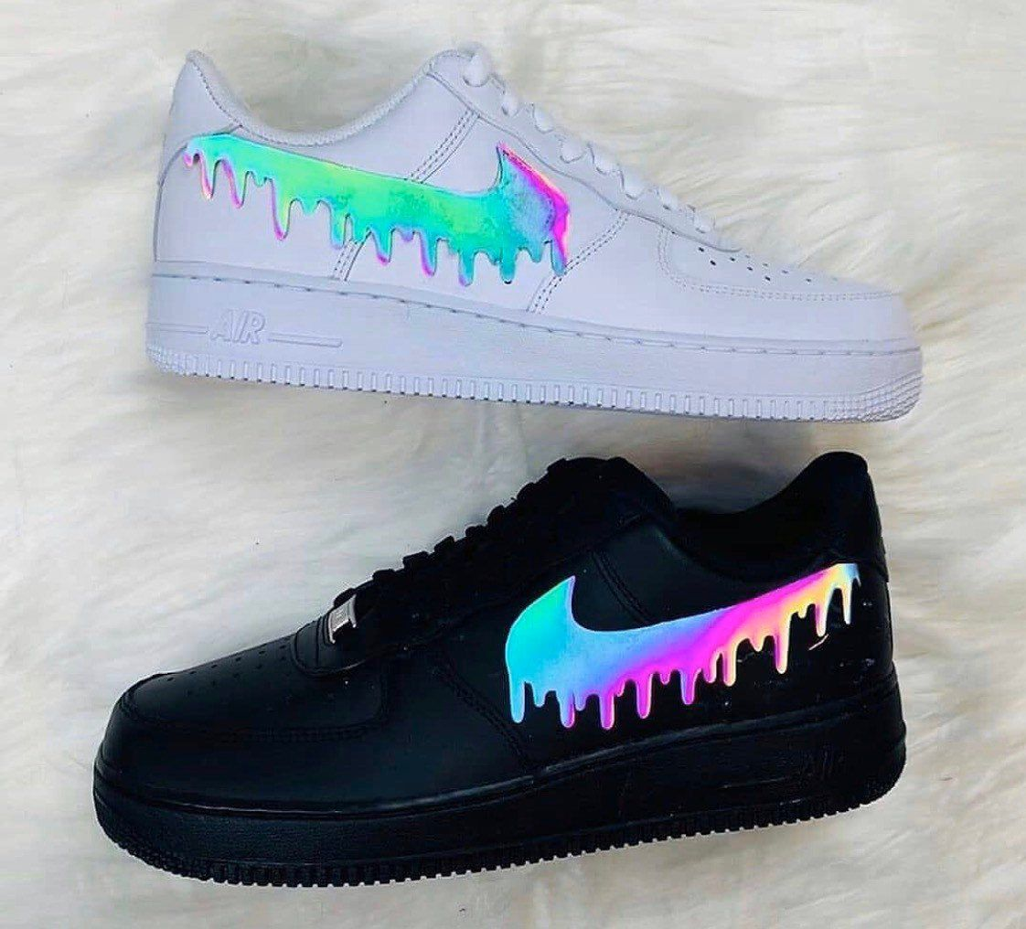 Custom multicolored reflective tick drip design Air Force