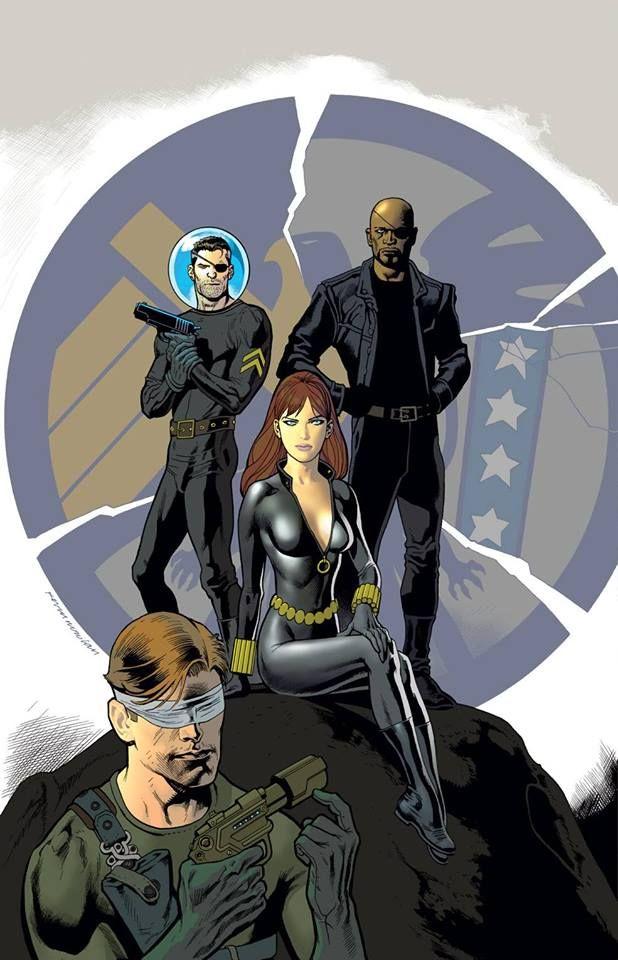 Nick Fury, Black Widow, Nick Fury Jr. & Matt Murdock (Daredevil) (Secret Wars vol.1 #2 variant cover) Art by Kevin Nowlan