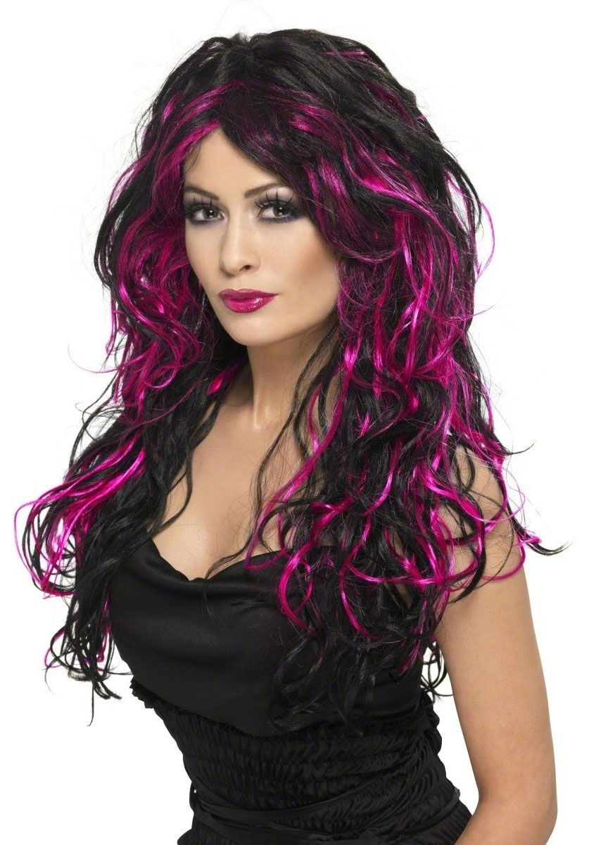 Gothic bride wig black and pink halloween wigs at escapade uk