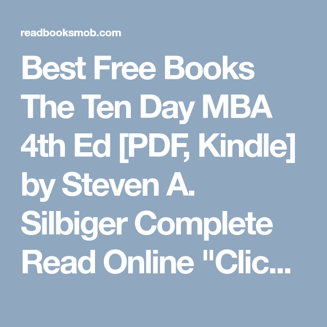 10 Day Mba Ebook