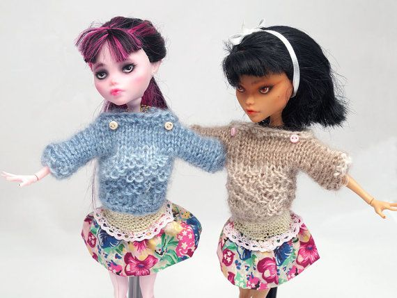 Two sets of knitted SWEATER and flowery SKIRT   by ZomiDollClothes