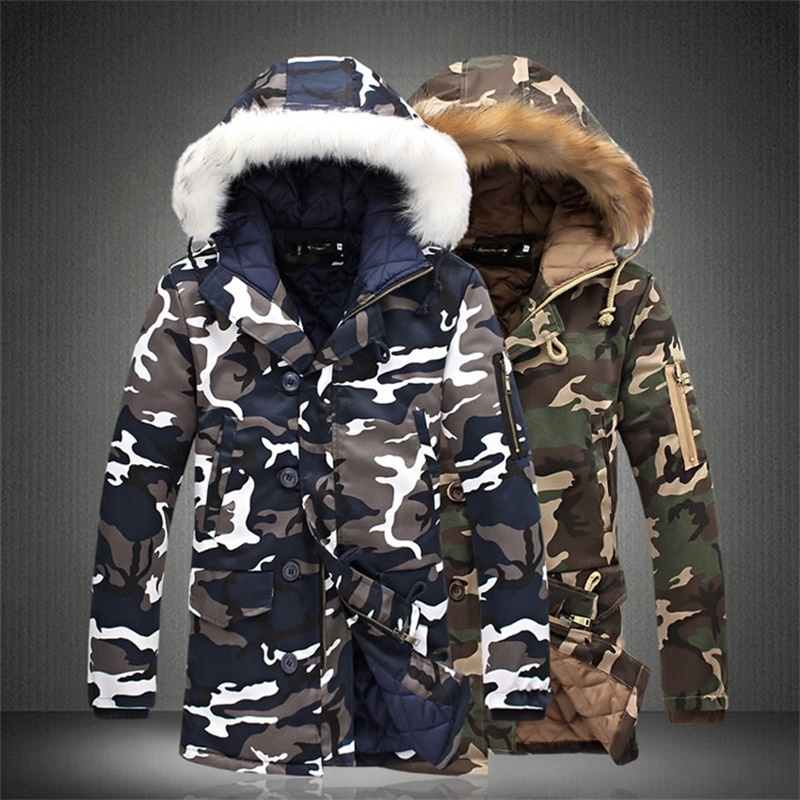 47.44$ Buy here - http://alikrq.worldwells.pw/go.php?t=32776166555 - 2017 Winter men 's long paragraph Hooded camouflage cotton plus code increase men warm Fur collar Coat Thicken parkas jacket 5XL