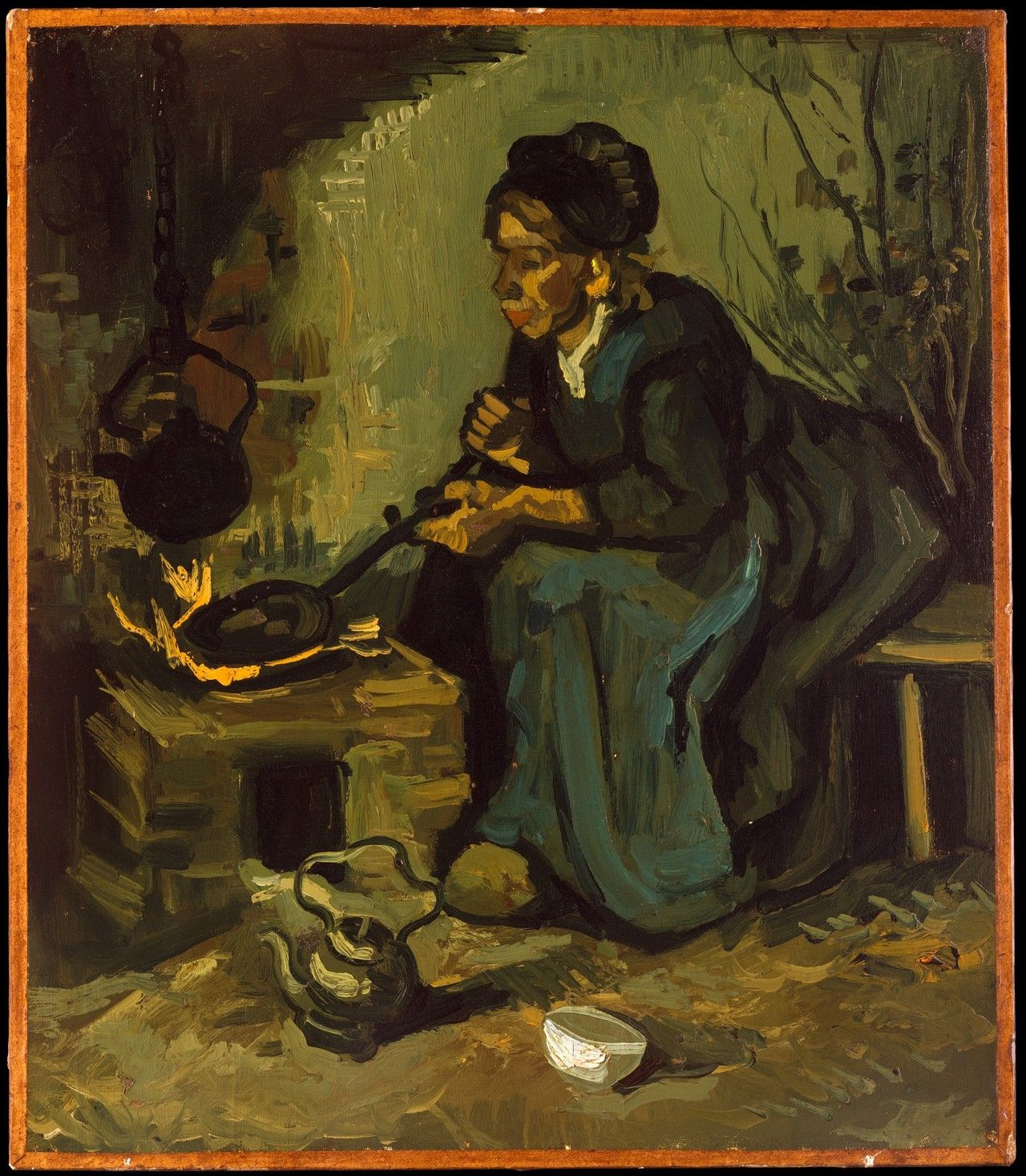 Vincent van Gogh-Peasant Woman Cooking by a Fireplace, 1885. Oil on canvas From the Metropolitan Museum of Art, NYC:  This work was painted in Nuenen in late spring 1885,