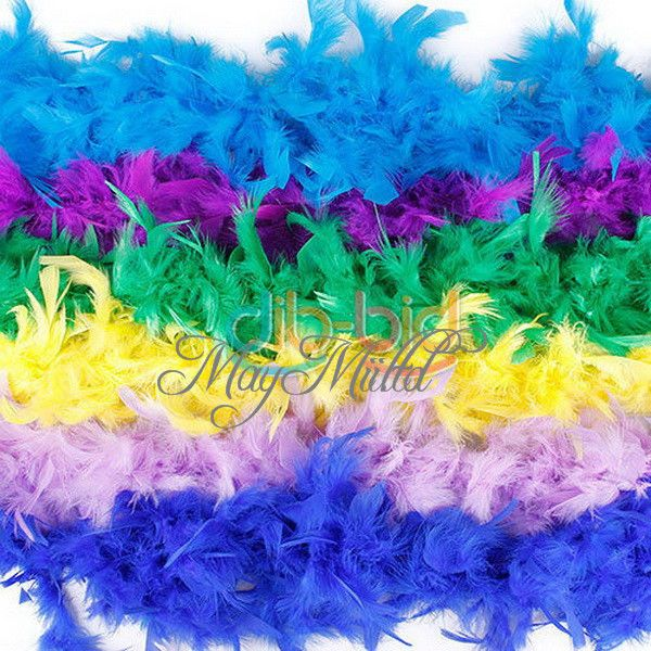 2M Long Fluffy Feather Decoration Boa Party Costume Wedding WHITE ROSE PINK