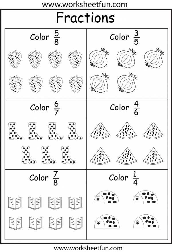 Color Fractions Fractions Worksheets 3rd Grade Fractions Fractions