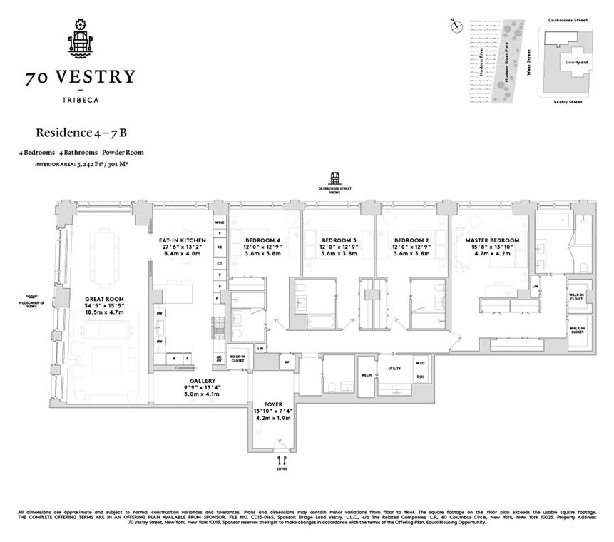 70 Vestry #4B In Tribeca, Manhattan