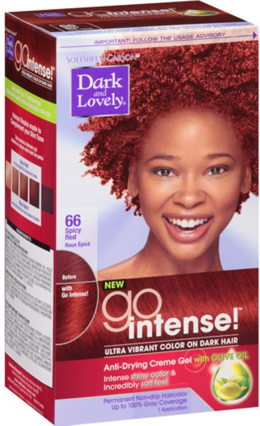 Dark And Lovely Go Intense Hair Color No66 Spicy Red 1 Ea Pack