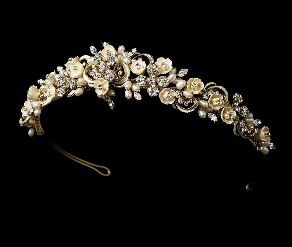 Tiaras wedding side tiara bridal necklace wedding bracelet tiara - Champagne Porcelain Flower Gold Plated Bridal Tiara Pearl Headbandwedding Tiaraswedding