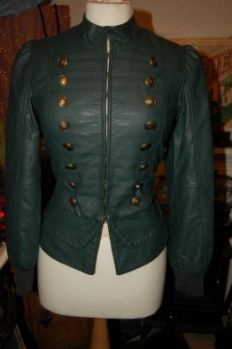 FLASHMAN'S LADY Faux Leather Steampunk Military Jacket