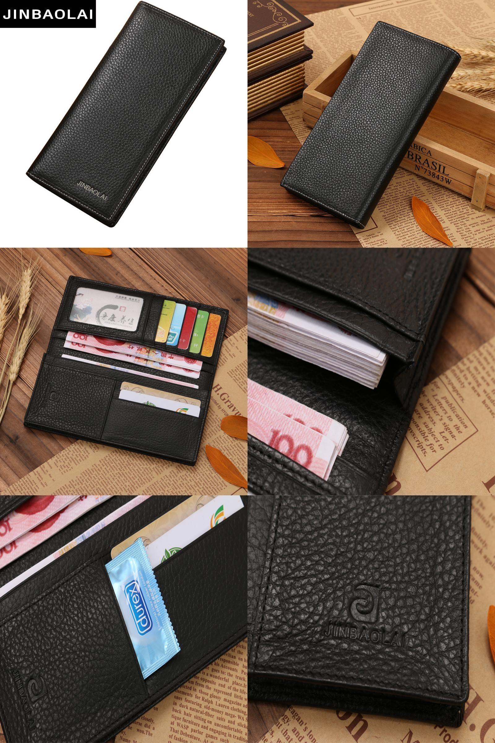 63254d3bf174 [Visit to Buy] JINBAOLAI Brand Men Wallet Genuine Leather Long clutch  wallets for men Cowhide Bifold Purse Slim Fashion Male Wallets Carteira  #Advertisement