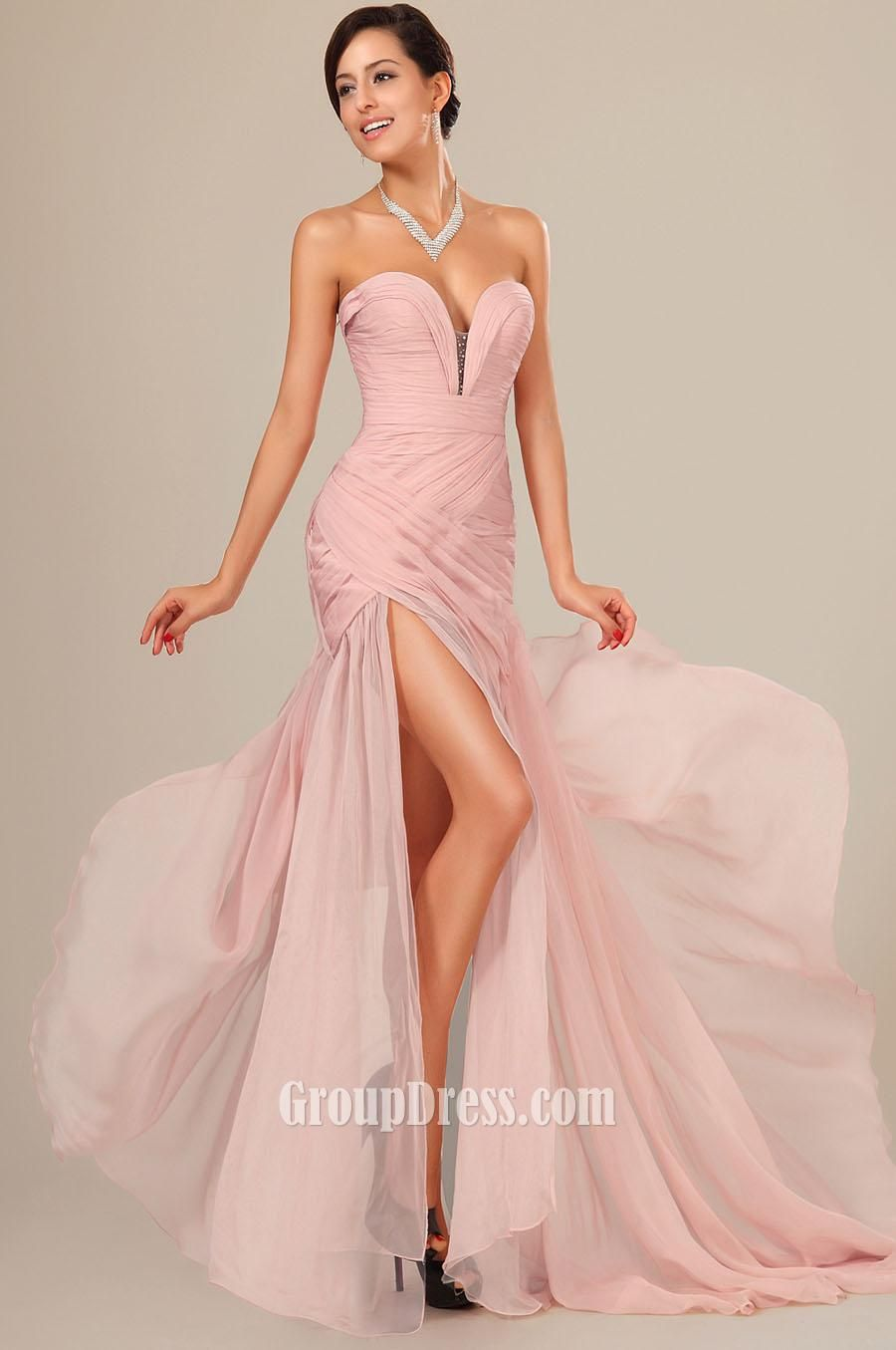 sexy pink sweetheart strapless slit long prom dress | Looks ...