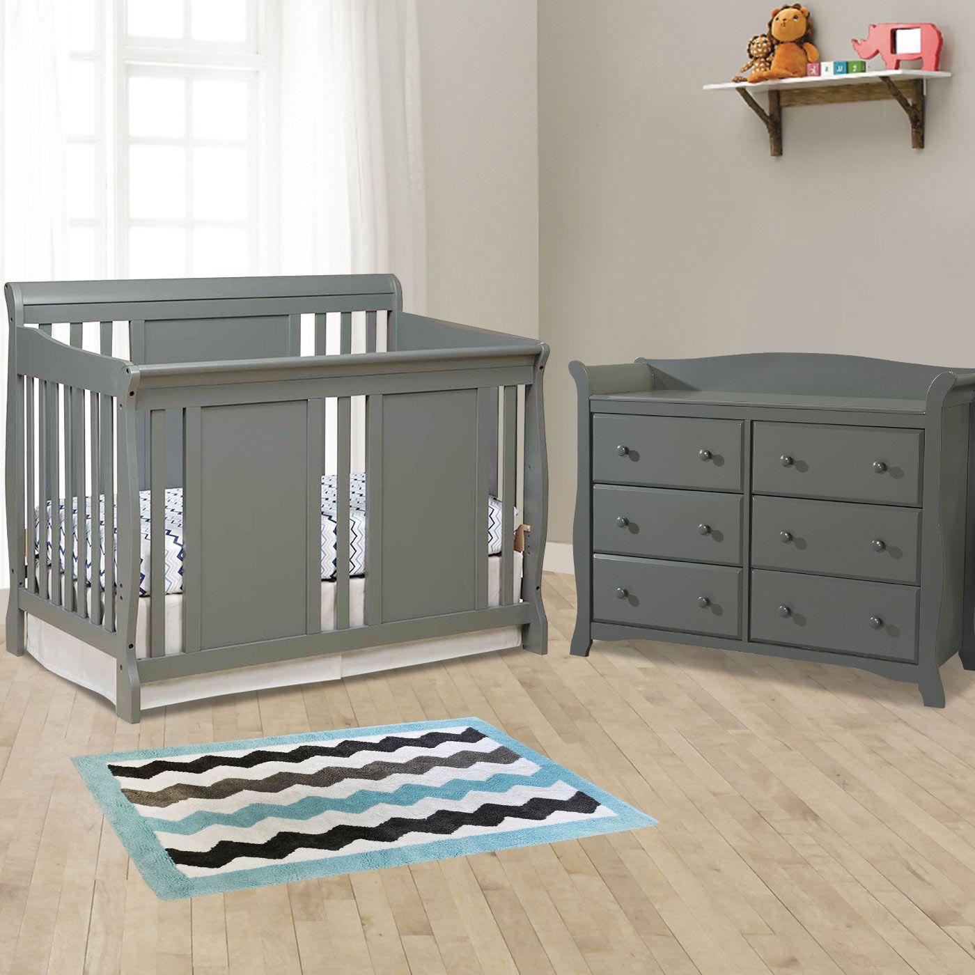 Storkcraft 2 Piece Nursery Set   Verona Convertible Crib And Avalon 6  Drawer Double Dresser In