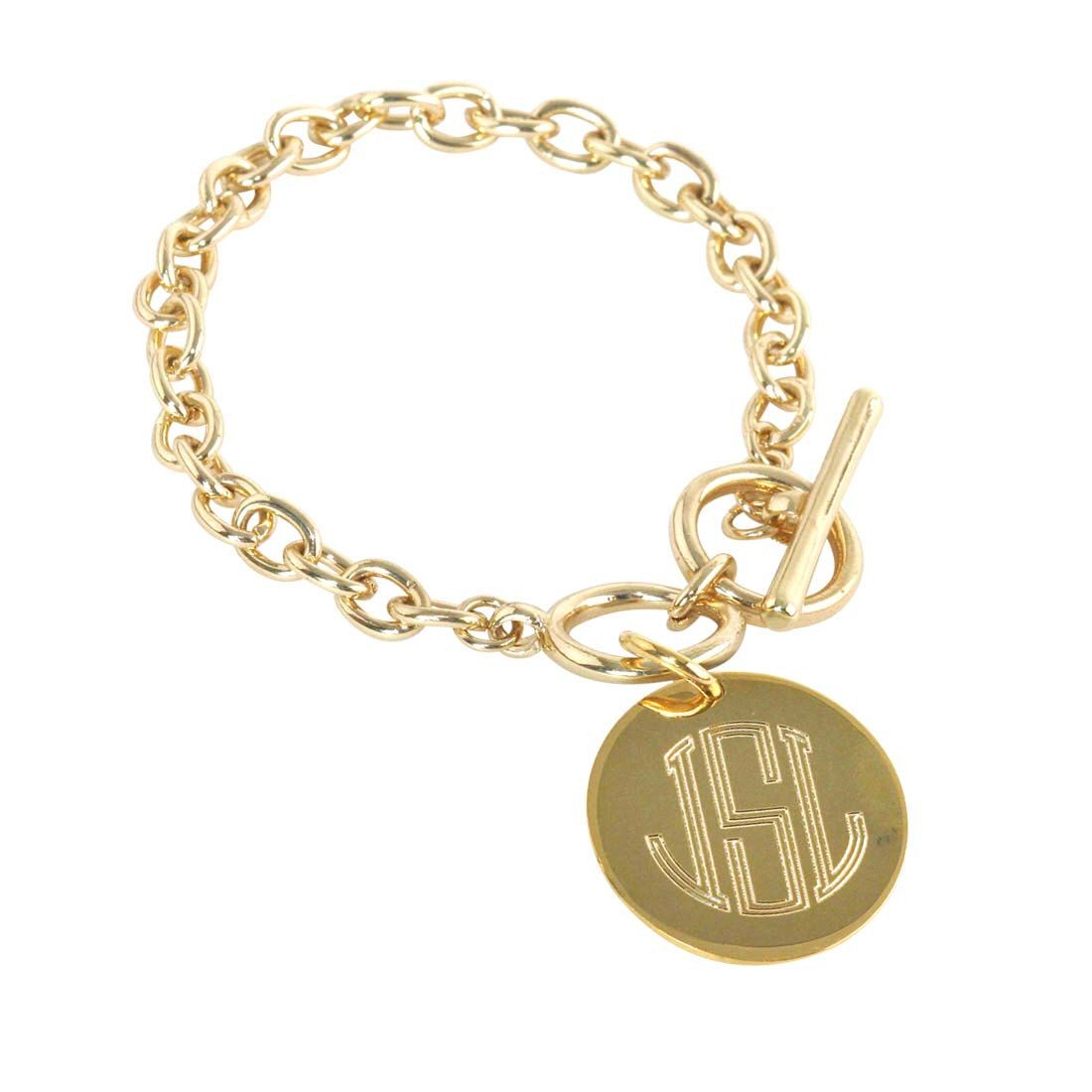 Engraved charm bracelet gold girl teen women silver monogrammed