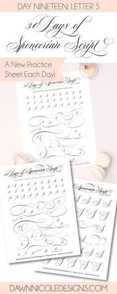 Spencerian Script Style Letter S Worksheets Pinterest
