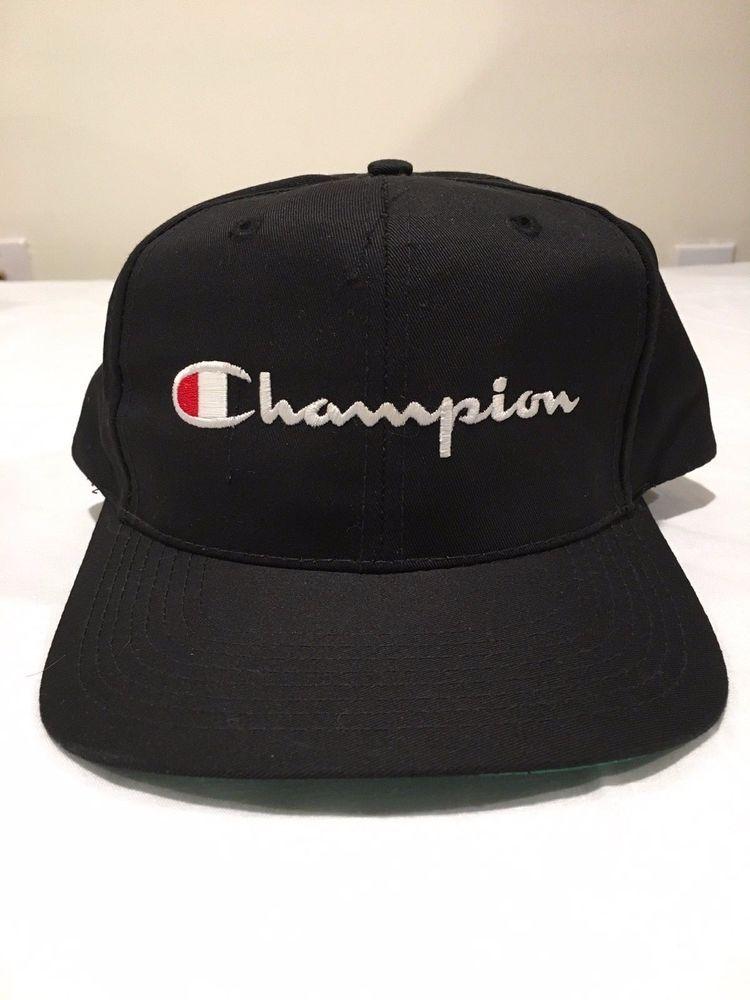 85e2aa4e9de ... new style vintage champion snapback lot hat cap script spellout logo  black white 90s rare fashion