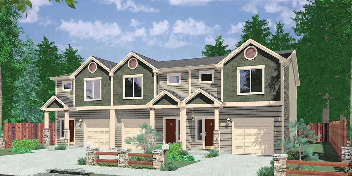 Plan 38027lb Triplex House Plan With 3 Bedroom Units House Construction Plan Family House Plans Duplex House Plans