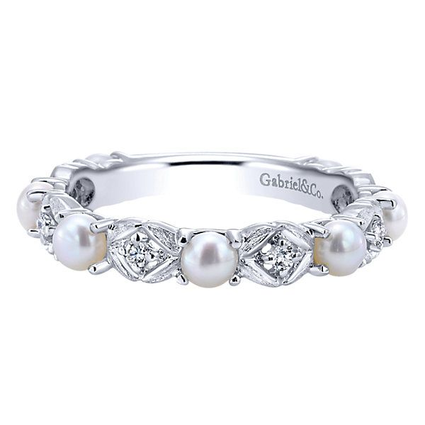 14k White Gold Diamond Cultured Pearl Stackable Las Wedding Bandspearl