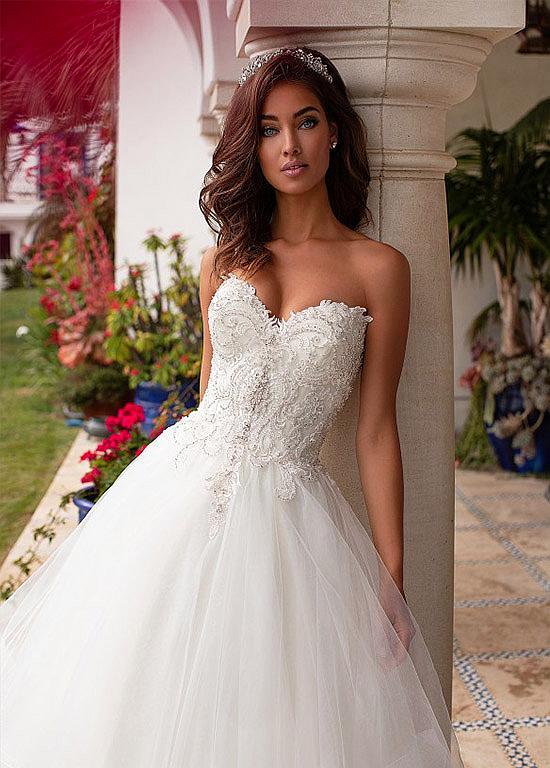 b525b8b310 Magbridal Romantic Tulle Sweetheart Neckline A-line Wedding Dresses ...