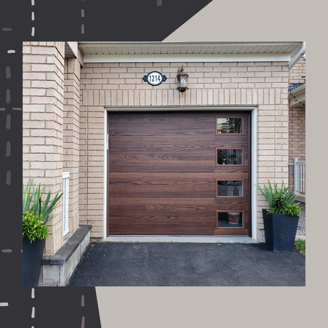 Planks Contemporary Faux Wood Garage Door In Dark Oak Accents Contemporary Garage Doors Garage Door Design Garage Doors