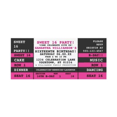 Sweet 16 Concert Ticket Invitation