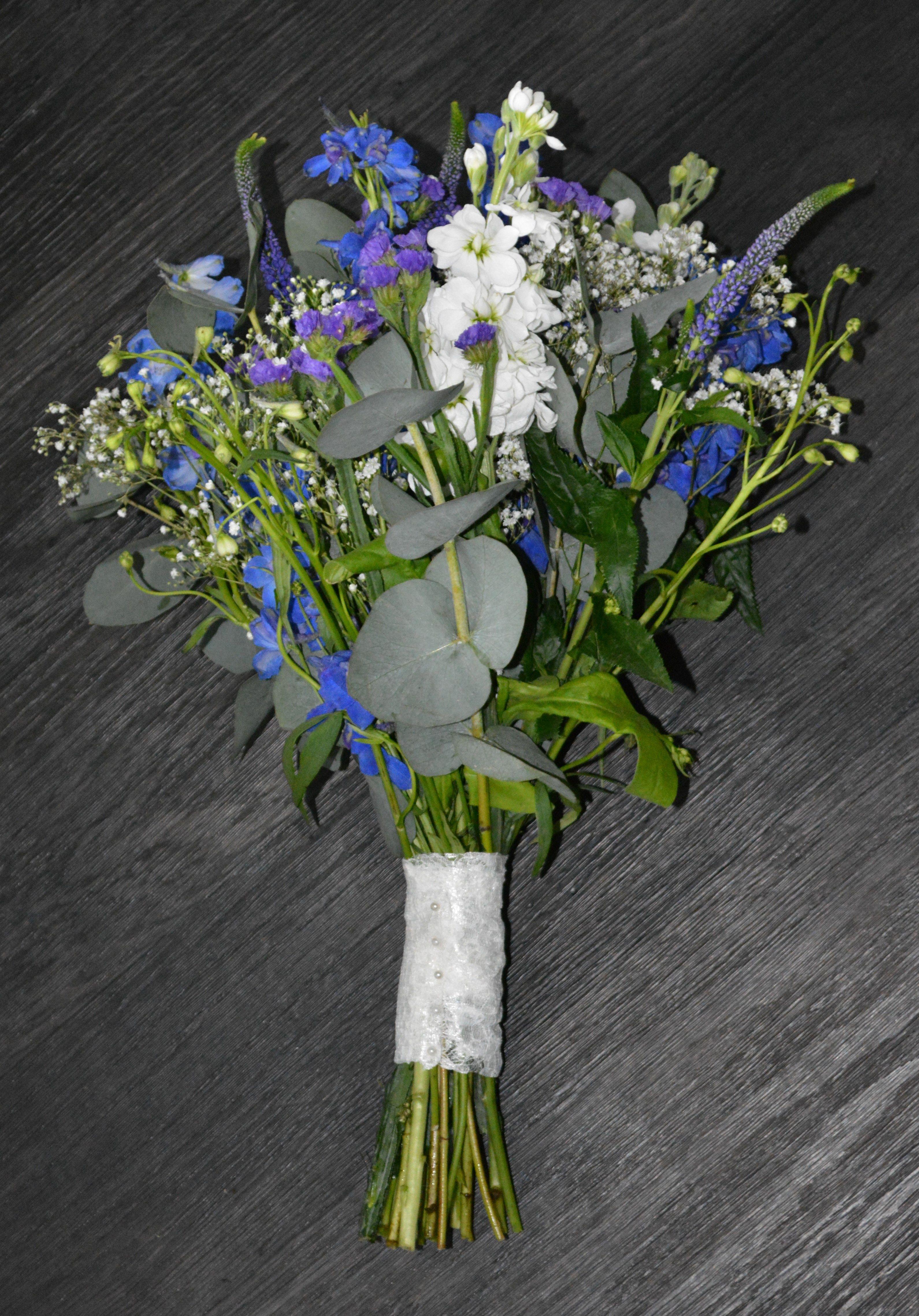 Wild Bouquet Including Delphinium Stocks Veronica Gypsophila