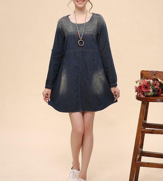 Denim dress Denim shirt maxi dress long sleeve tops Jean by JIANGD