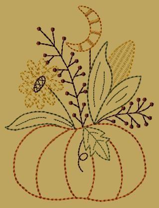 PK126 Moonlite Pumpkin Version 2 - 5x7: Primitive Keepers, Prim Machine Embroidery Designs