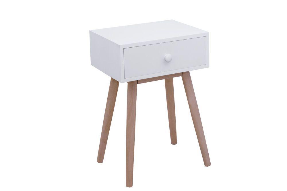 Mesita de noche con cajon blanca moderna, patas madera maciza, de - mesitas de madera