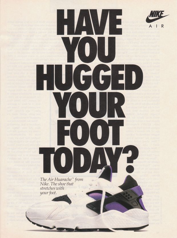 best service a3184 da328 Original 1992 Nike Air Huarache advert The Daily Street