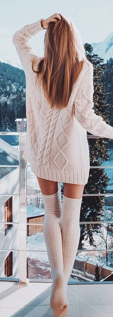 5bcfd8f8cb 100+ Refined Winter Outfits To Inspire You | Cozy sweaters | Stylish winter  outfits, Winter outfits y High socks outfits
