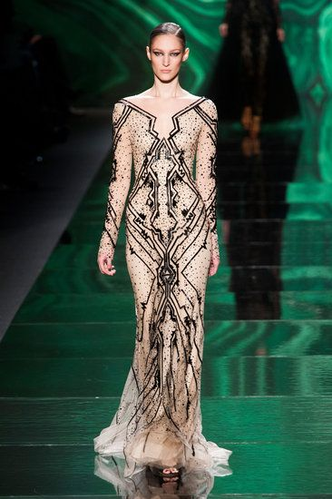 From the Runway to the Red Carpet: The Fall '13 Dresses We Hope to See at the Oscars: This pale gray, artfully beaded Monique Lhuillier Fall 2013 gown would be a great look for nominee Anne Hathaway.  : We'd be delighted to see this ornate beaded Monique Lhuillier gown on Kerry Washington.