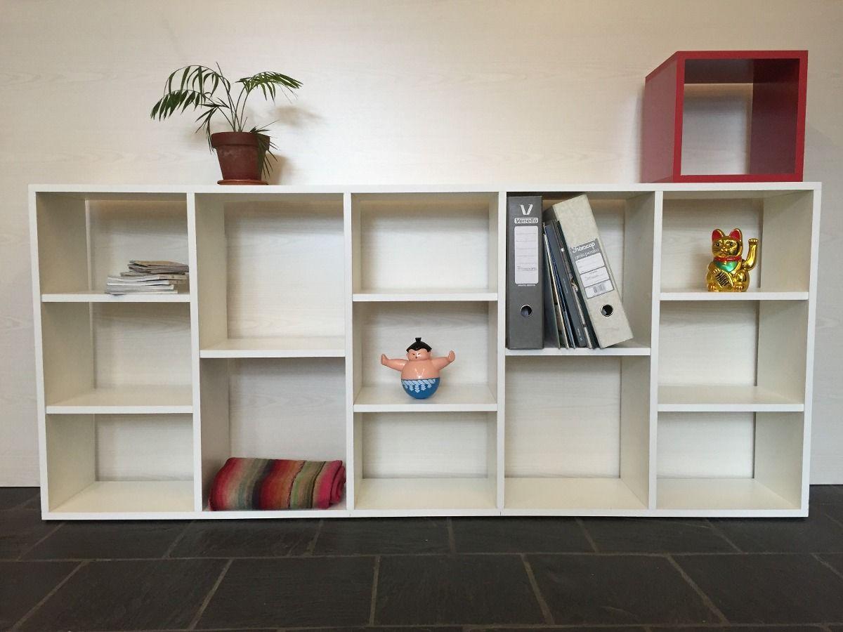 Biblioteca Cubos Divisor Horizontal Melamina Blanco 18mm  # Muebles Cuadrados