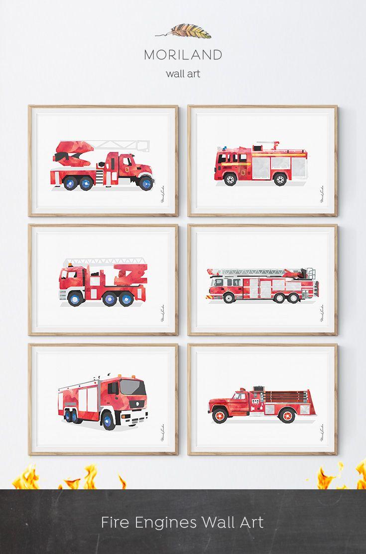Fire Truck Wall Art Ladder Truck Printable Firetruck Print Fire Truck Decor Children S Prints Transp Fire Truck Nursery Fire Truck Room Fire Truck Bedroom