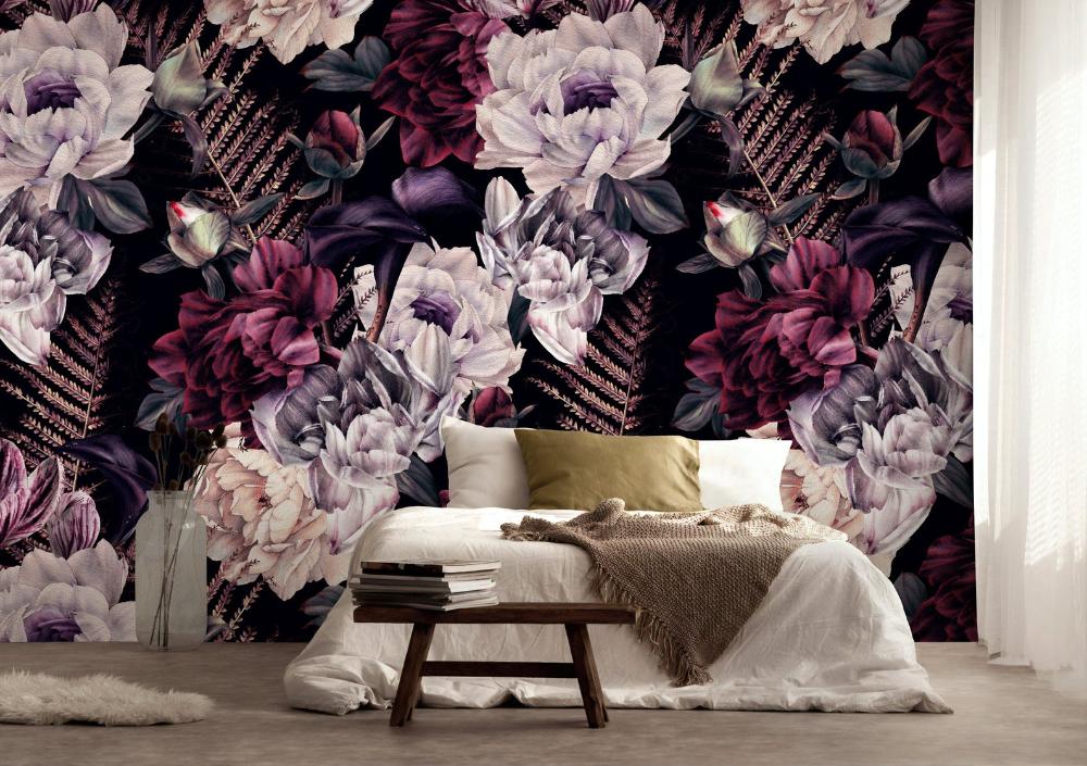 Dark Floral Wallpaper Removable Peel And Stick Self Adhesive Etsy Floral Wallpaper Dark Floral Flower Bedroom