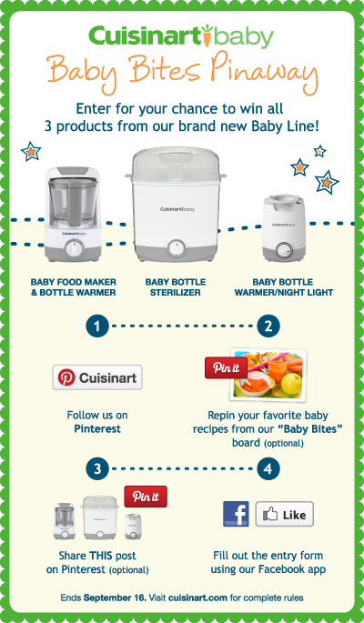 GIVEAWAY HAS ENDED! ---Enter the Cuisinart Baby Bites Pinaway for a chance to win all 3 products in Cuisinart's brand new Baby Line!