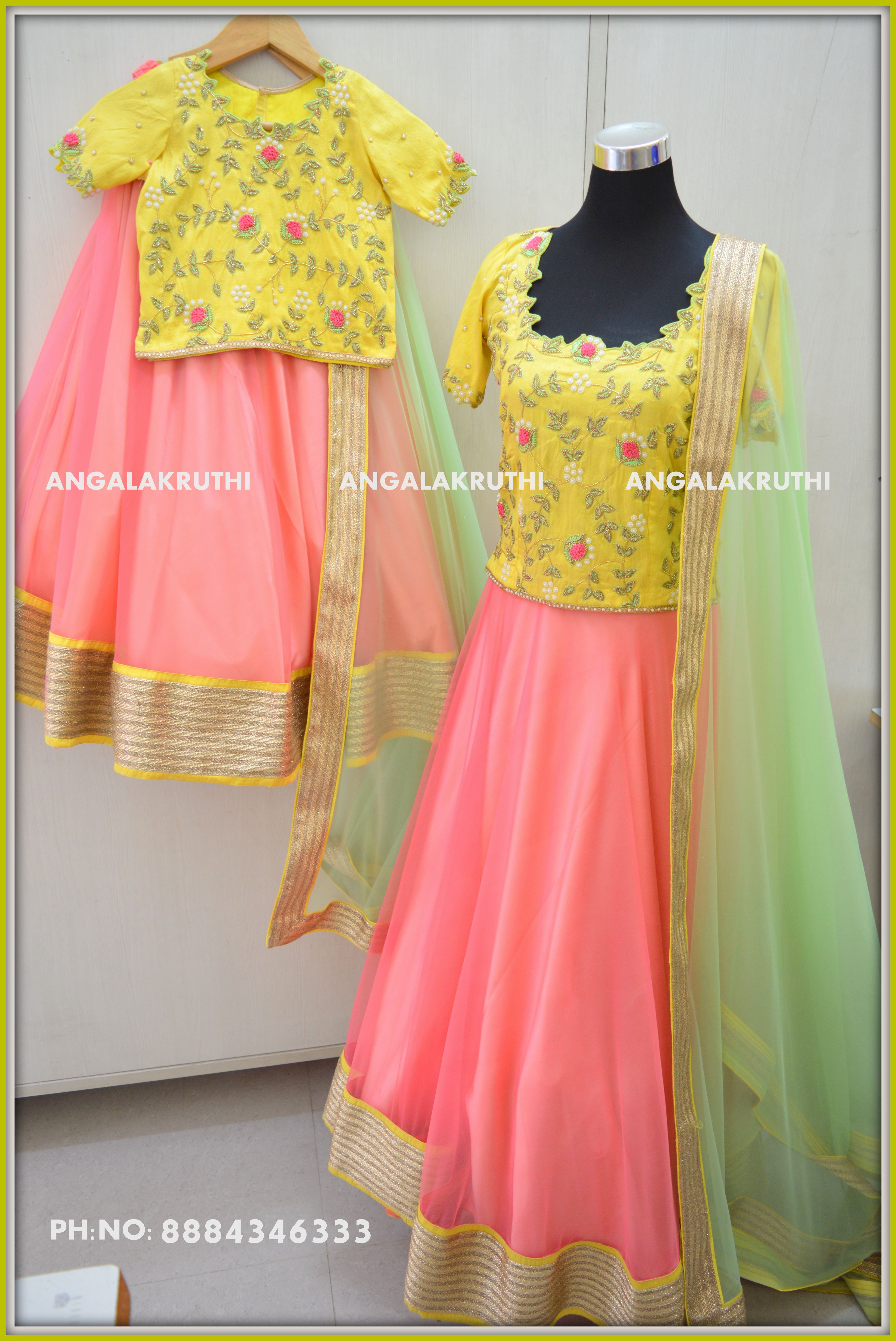 91fbb2e293 Mother and daughter matching dress designs by Angalakruthi boutique  bangalore mom n me dress designs custom mom and me designs