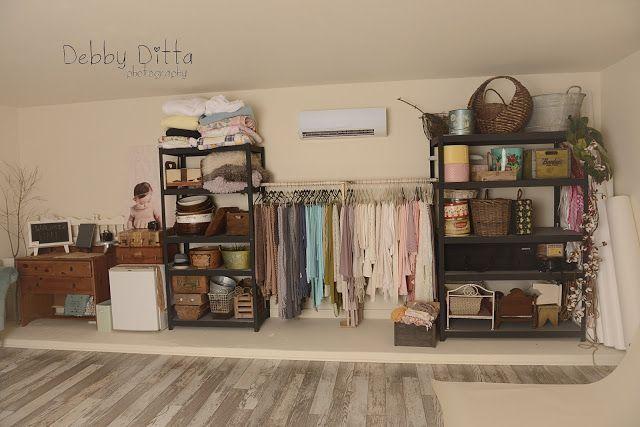 Dreamy newborn photography studio space  Organized backdrops