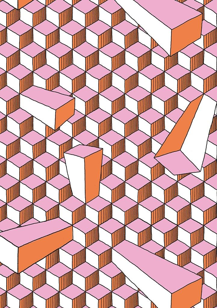 Repetition of squares creates a pattern.