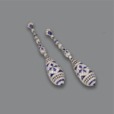 Pair of sapphire and diamond pendant-earrings - Sothebys
