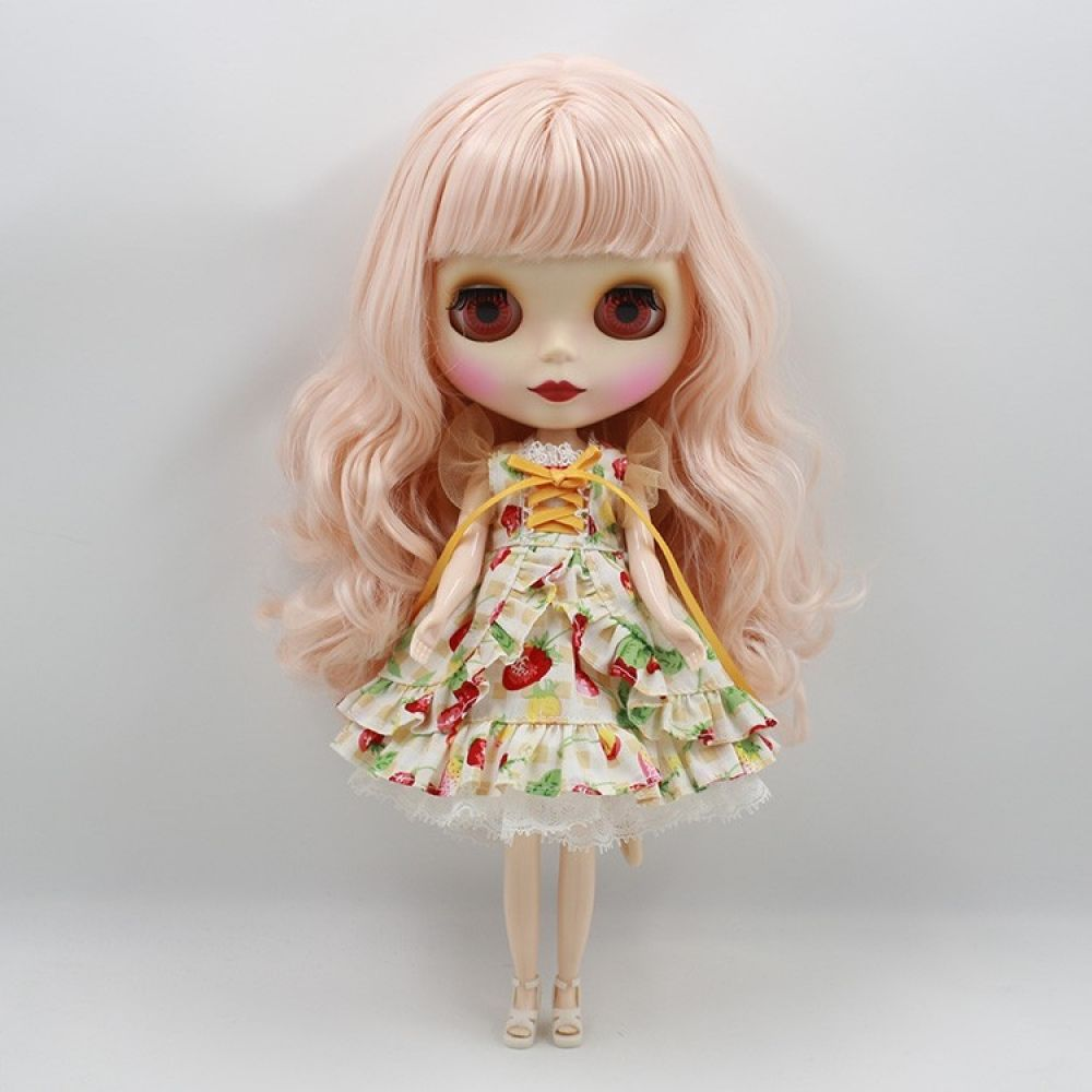 12 Blythe factory Nude Doll Black Skin Pink White Hair