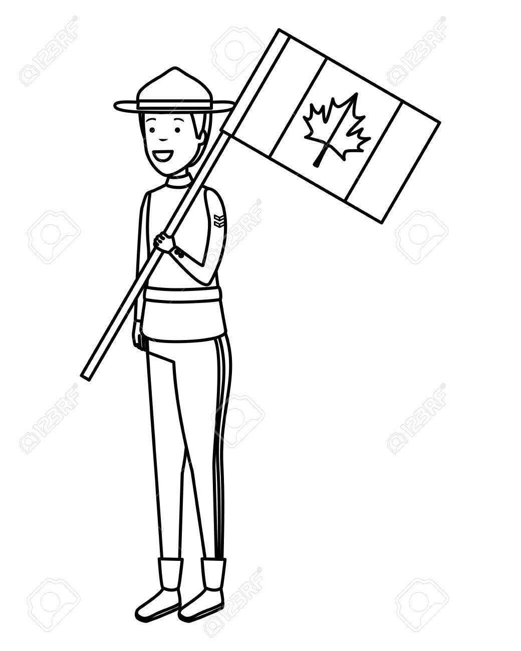 Canadian Officer Ranger With Flag Character Vector