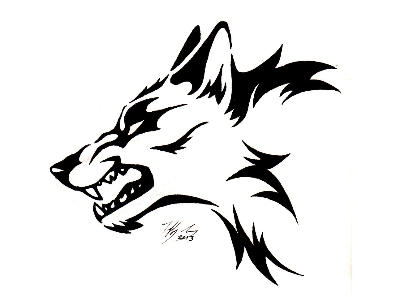 Tribal Wolf Head Tattoos