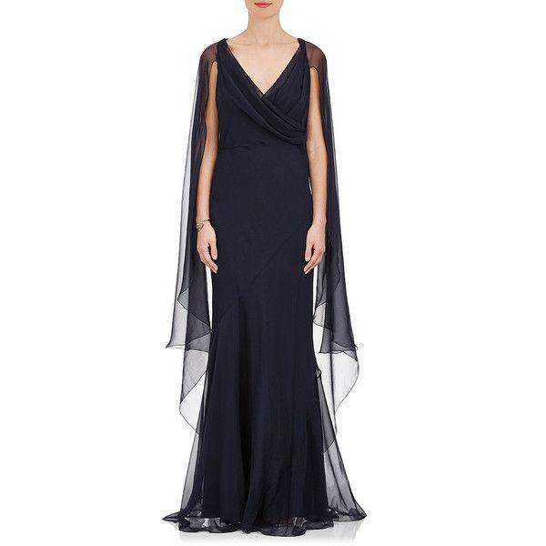 Alberta Ferretti Women's Cape-Back Silk Sleeveless Gown (48,325 MXN) ❤ liked on Polyvore featuring dresses, gowns, navy, empire waist evening gowns, navy gown, navy blue evening gown, navy blue dress and empire waist dress