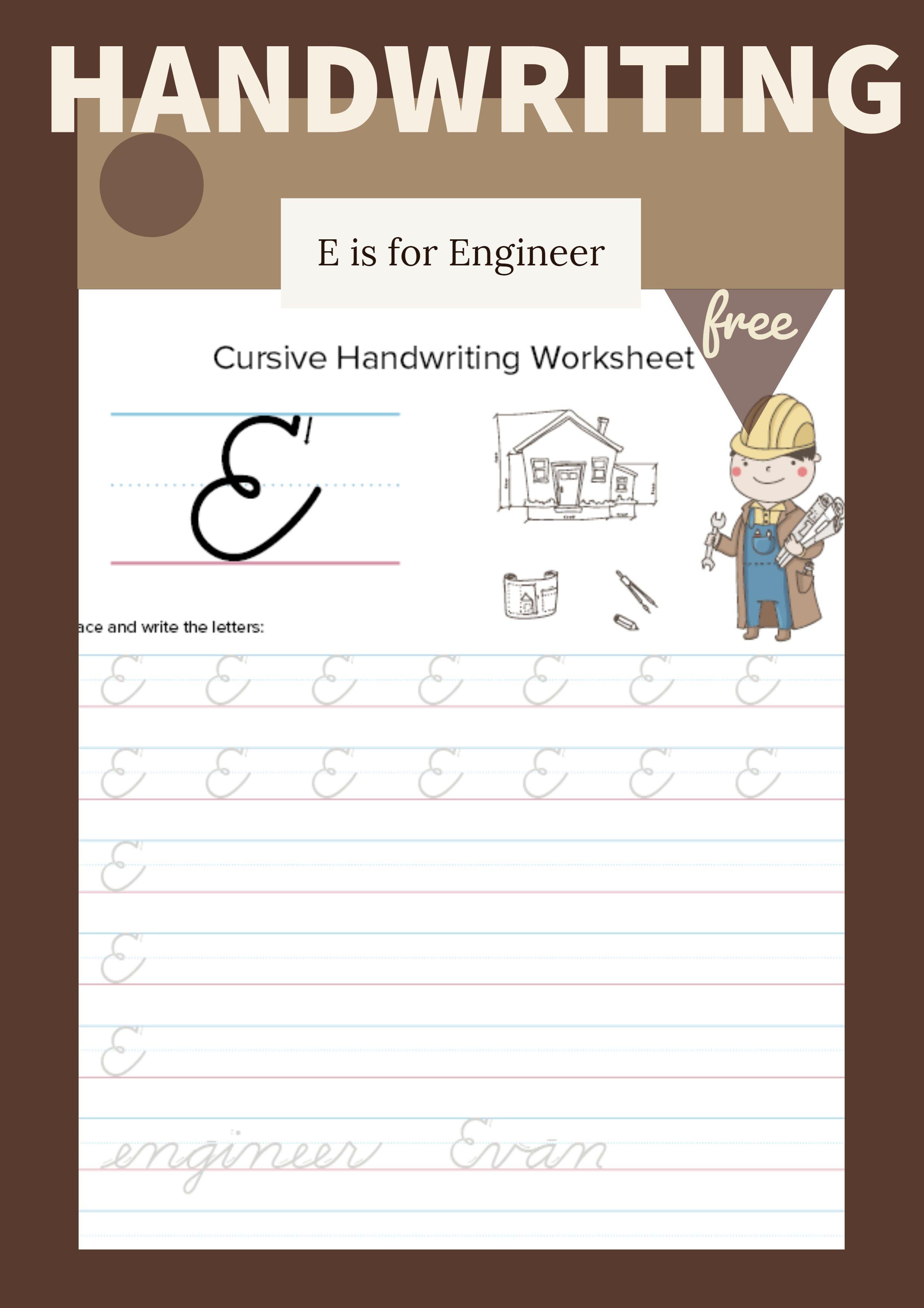 Cursive Uppercase E Worksheet