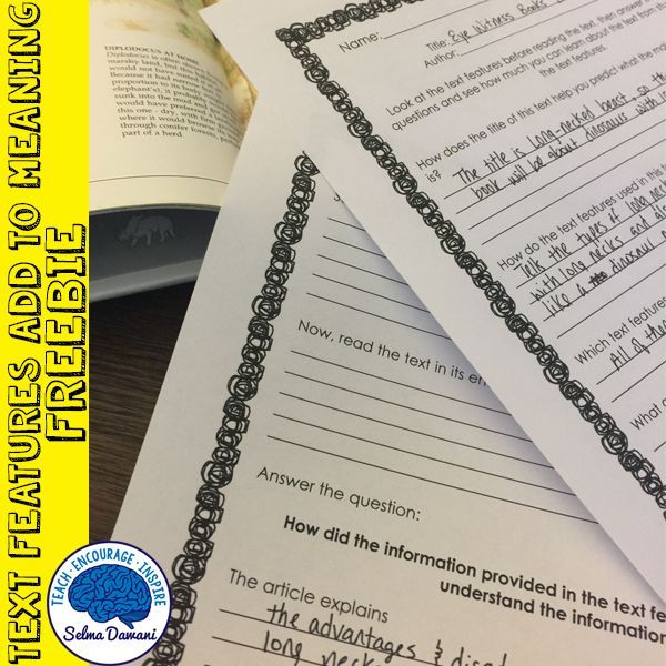 Helping students understand how text features give text meaning - freebie