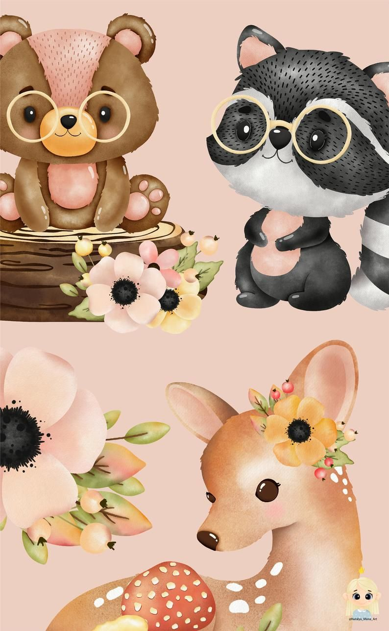 Forest Animal Watercolor Digital Clipart Woodland Creatures Woodland Animals Clipart Watercolor Digital Clipart Woodland Nursery Clipart Animal Clipart Cute Animal Clipart Watercolor Animals
