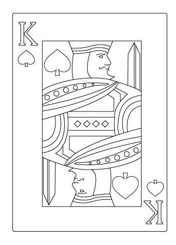 King Of Spade Coloring Sheet Hearts Playing Cards Heart