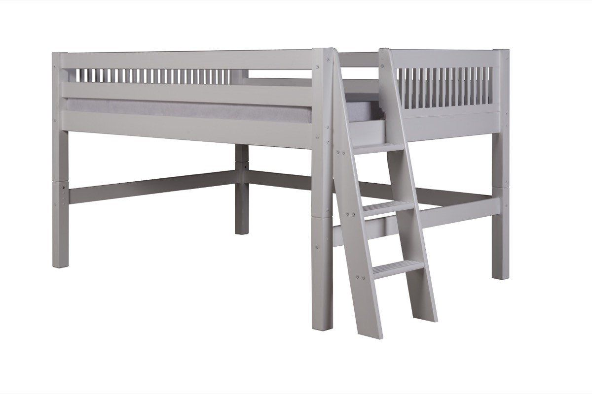 Gray loft bed with desk  Camaflexi Full Low Loft Bed  Mission Headboard  Lateral Ladder