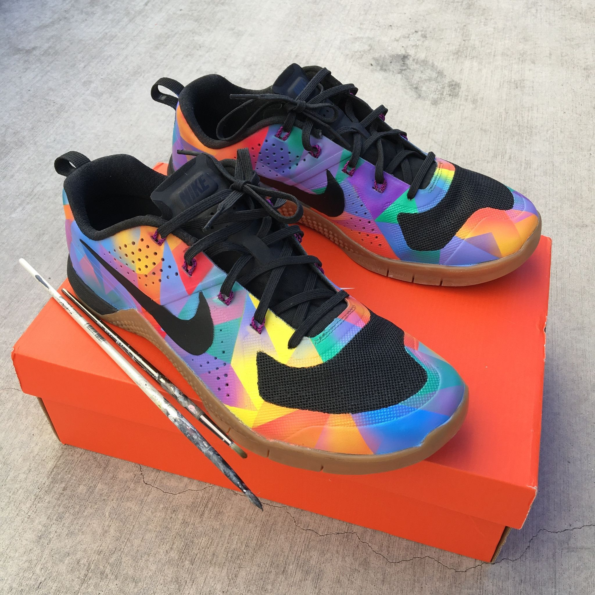 online retailer 76e01 1a43a These Nike Metcon 2 Sneakers have been hand painted to featured a colorful  geometric pattern all over the shoes. These Sneakers are one-of-a-kind  completely ...